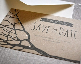 Wedding stationery - x25 save the date wedding invitation cards, winter rustic wedding design (A6)