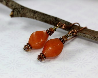 Red Aventurine Earrings, Amber Crystal Earrings, Orange Dangle Earrings, Aventurine Earrings