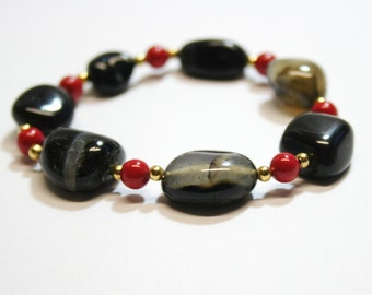 Stretch Bracelet, Pearl and Gemstone Bracelet, Red, Black and Gold Bracelet, OOAK Jewelry