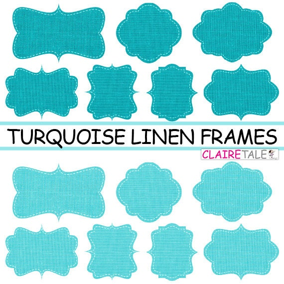 """Linen / burlap frames clipart: """"TURQUOISE LINEN FRAMES"""" clipart pack with linen / burlap labels / tags for scrapbooking, invites, cards"""