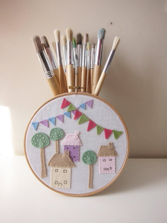 Nursery decor embroidery hoop art village with houses