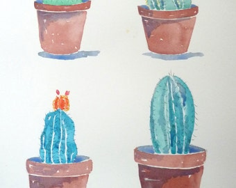 Succulents, table illustrated in watercolor. Original. Da euro 25 a 20!