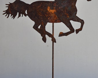 """Rusted metal 12"""" x 9"""" running horse"""