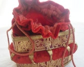 Vintage Red Velvet Bucket Bag. Draw string. Gold decoration. Evening bag.