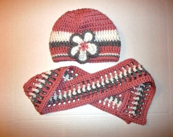 Girls Crochet Scarf & Hat