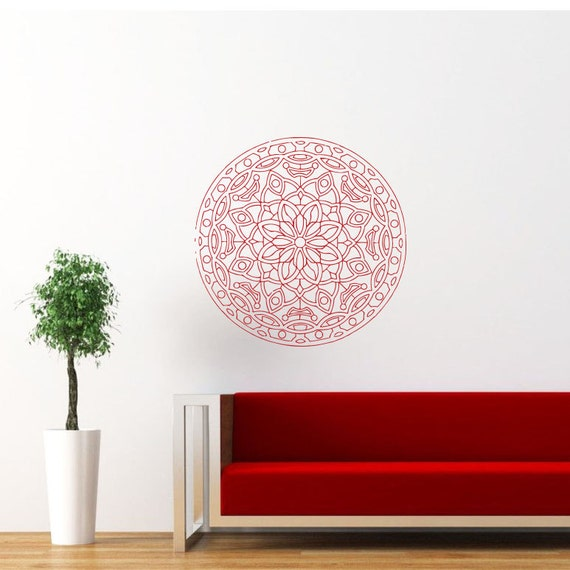 Items Similar To Mandala Wall Decal Namaste Flower Mandala
