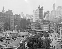 New York City wall art, 1908.Highly Detail Panorama, year 1908.Manhattan,Heart of New York, art print.