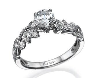 White Gold Engagement Ring with Diamonds for Women - leaves Ring, Promise Ring, Art Deco Ring - Wedding Ring, Anniversary Ring, Women Gift