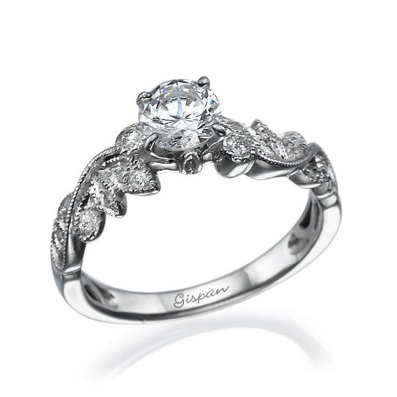 White Gold Engagement Ring with Diamonds for Women leaves