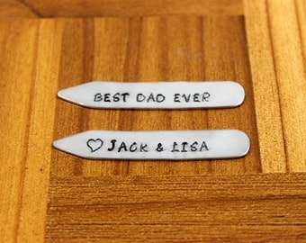 Anniversary Gifts for Men / Personalized Collar Stays / Best Dad Ever / Custom Collar Stays / Husband Birthday Gift / Father's Day Gift /