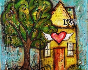 Me And My House Art, As For Me and My House Art, House Warming Gift, Inspirational Art Print, Whimsical Art, Winged Heart Art, New Home Gift