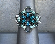 Chainmaille Ring, Metal Flower Ring, Gunmetal Ring, Chain Mail Jewelry, Chainmail Jewelry, Chain Maille Jewelry Teal Green Sea Foam Green