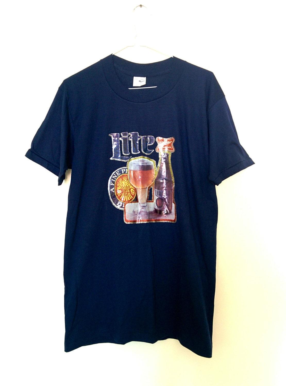 Vintage Beer Tshirt Sneakers Miller Lite Brewing Company 1980s