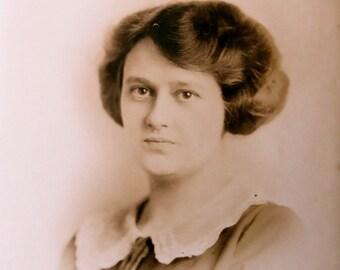 Original 1910's  Beautiful Woman Mini Portrait Photograph - Free Shipping