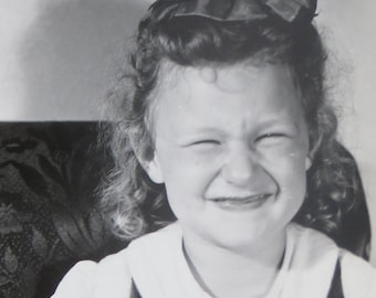 What A Smile! - Silly 1930's Little Girl Forces A Smile Snapshot Photo - Free Shipping