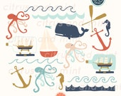 Clipart - Nautical Ocean - 17 Hand Drawn Illustrations for Commercial Use - .png files - instant download