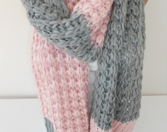Knit Scarf Chunky Scarf Pink and Gray Knitting Scarf Muffler Scarf Warm Winter Scarf Ascot Neck Warmer Women Fashion Accessories Christmas