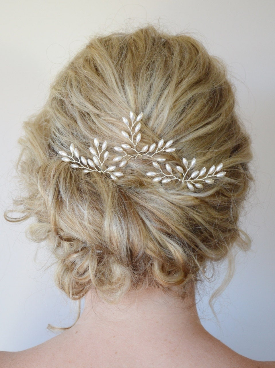 Bridal Hair With Pins : Wedding hair accessories bridal rice pearl