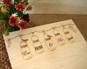 Mason Jar Custom Cutting Board Bridal Shower Gift Wedding Present Anniversary Holiday Present Country Kitchen Decor Handmade Chopping Board