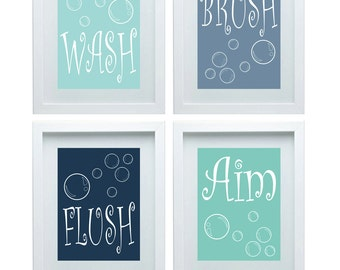 Kids Bathroom Rules Boys Bathroom Art Boys Bathroom Decor Wall Art Blue Shades Kids Bathroom Decor