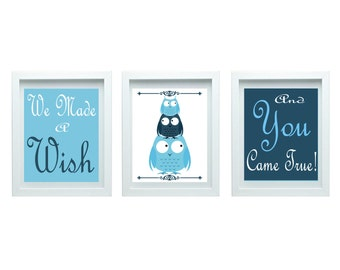We Made a Wish Boy Nursery Art Owl Nursery Decor Girl Bedroom Decor Blue Art Home Decor Set of 3 - 8x10 Prints Chooser Your Color