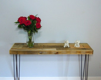 Pallet Entry Table - Reclaimed Foyer Table - Hairpin legs
