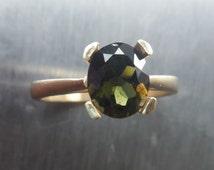 1.60ctc Natural Rare Kornerupine ring 9Carat .375 yellow gold all sizes