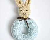 Peter Rabbit Baby Rattle - Knit Bunny Rabbit Baby Toy - MADE TO ORDER - Easter Gift