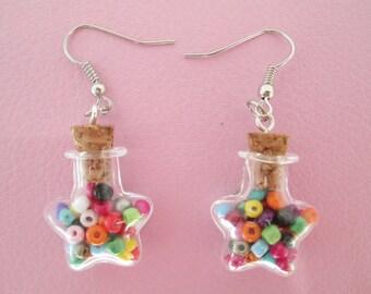 Rainbow star bottle dangle earrings
