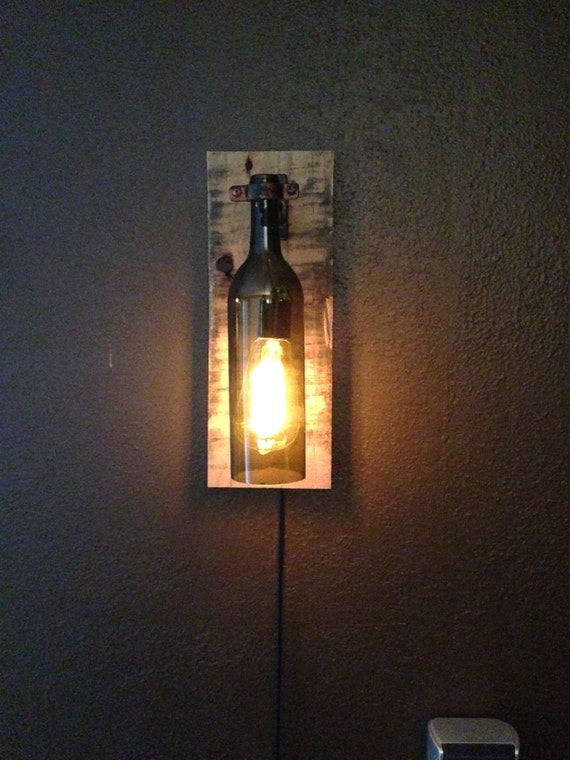 Rustic Wall Sconce With Switch : Rustic Wine Bottle Wall Light /Sconce Light by WineCountryLights