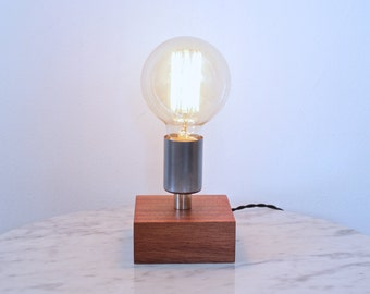 rustic modern table lamp //  industrial brass and wood desk lamp // exposed edison bulb lighting // dark wood and steal light fixture