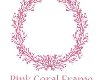 Pink Coral Frame - Original art download, pink coral wreath, coral frame, preppy frame, preppy pink theme, preppy coral