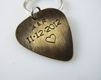 Guitar Pick Keychain, Personalized , Hand Stamped, Initials, Date, Heart, Valentines or Anniversary Gift