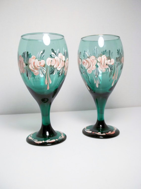 Green Glass Wine Glasses Stem Glasses Hand Painted