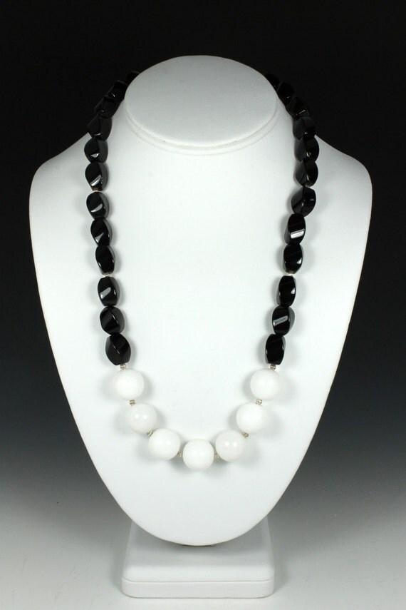 Onyx and White Quartz Necklace