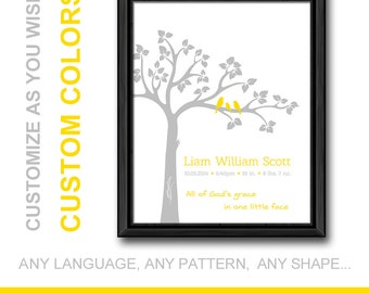 bible verse baby print yellow gray, christian birth print tree birds, personalized baby decor, christian birth announcement, new baby gift