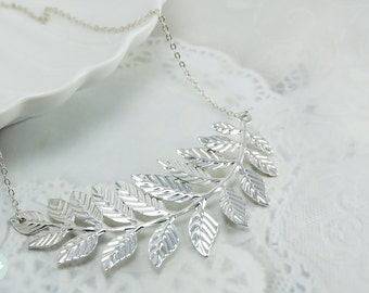 Leaf necklace, statement necklace, silver leaf necklace, silver necklace, wedding necklace, leaf statement necklace, cute leaf necklace