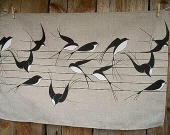 Linen Tea Towel Kitchen Towel Swallows Towel Sparrows Bird Towel Hand Towel Dish Towel Gift For Mom Birthday Gift Christmas Gift