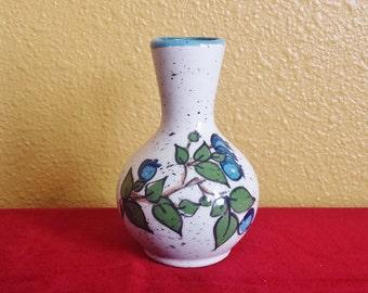 Vintage Ceramic Bud Vase with Blueberry Vine Design