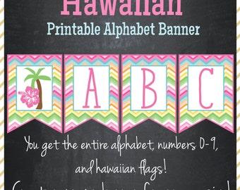 Hawaiian Luau Birthday Printable Alphabet Banner - Instant Download