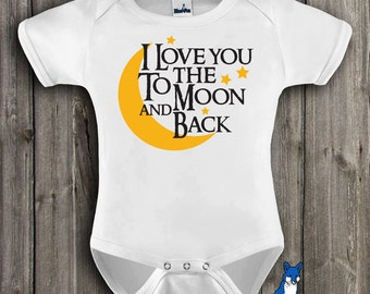 Cute baby clothes-I love you to the moon and back-Baby Clothing-Baby Bodysuit-Gender neutral baby-baby shower gift-Blue Fox Apparel-163