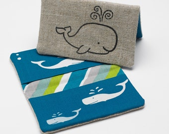 Business Card Case, Credit Card Holder, Fabric Nautical Gift Card Wallet in Organic Blue Whale