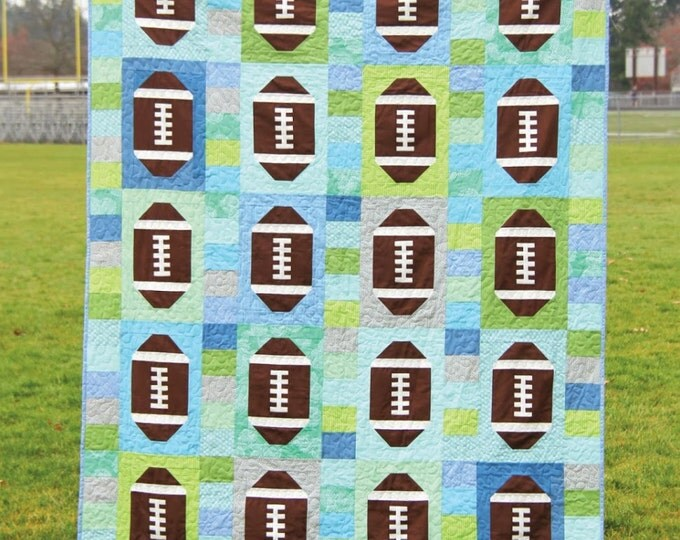Touchdown Quilt Pattern by Cluck Cluck Sew - 2 Sizes - Super FUN Football Quilt - #143 (W1429)