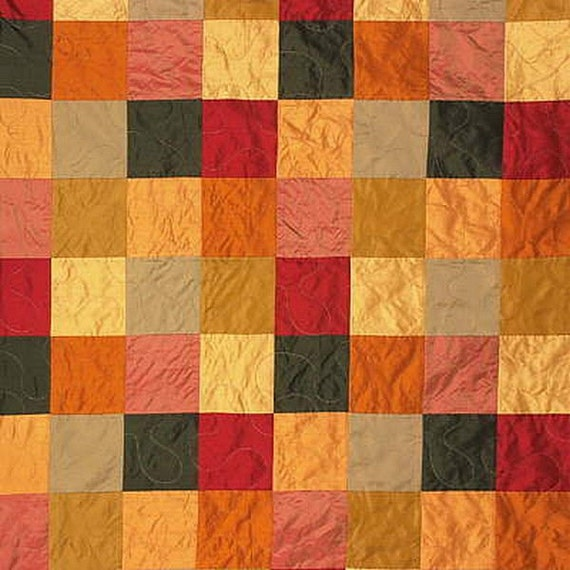 patchwork orange red yellow pink grey green upholstery drapery fabric