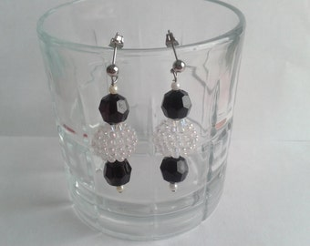 Black & White Plastic Beads Earrings