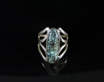 Chinese Turquoise Ring Sterling Silver Handmade Size 7.0, R0425