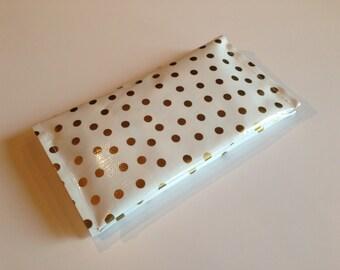 Diaper Clutch - Gold Polka Dot