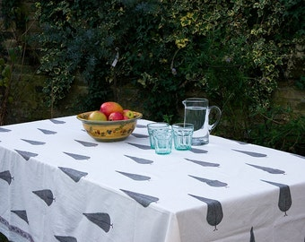 Block printed TABLECLOTH -  Large Green cypress trees
