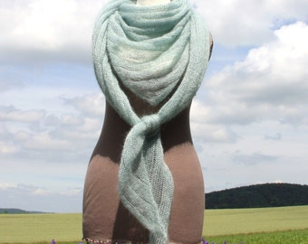 XL Triangel shawl, wedding shawl, knit wrap, beach shawl, wedding wrap, bridal shawl, mohair, silk, mint