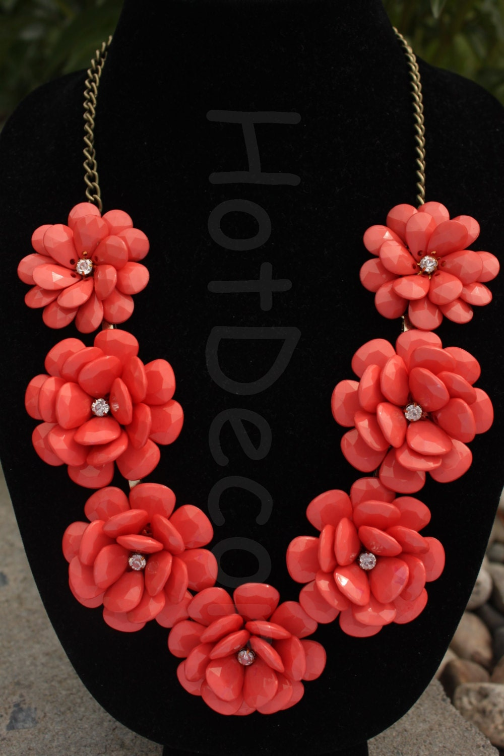 coral statement necklace silver chain gold chain by hotdecor